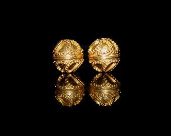 Two 10mm 22 Karat Gold Vermeil Beads, 10mm Gold Vermeil Granulation Beads, Gold Vermeil Beads, Gold Beads, Gold Vermeil Beads