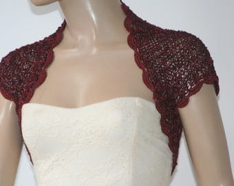 Burgundy Wedding Bridal Bolero Shrug Lace Crochet Knit  Shrug Boleros  Gold White Grey Blue Lilac Black