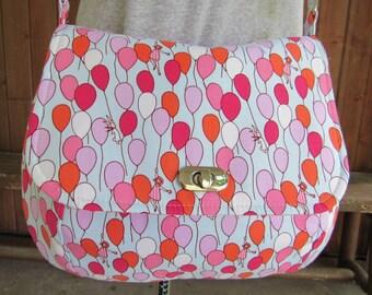 Cross Body Bag / Saddle Bag / Purse in Fun Balloons Fabric - Shoulder Bag, Balloons, Flowers, Red, Pink, White, Orange, Flap, Turn Lock