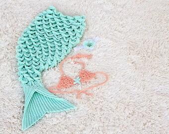 Mermaid Tail Blanket, Baby Crochet Mermaid Tail Blanket, Mermaid Photo Prop, Mint & Peach Mermaid Tail Blanket Set, Baby Shower Gift