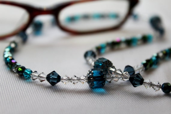 Crystal Necklace Eyeglass Chain, Blue Beaded Holder for Glasses, Crystal Chain for Glasses, Blue Accessory for Spectacles