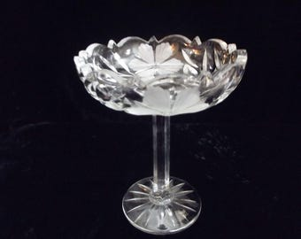 Small crystal compote, pedestal dish, flower and leaf design, item # 67