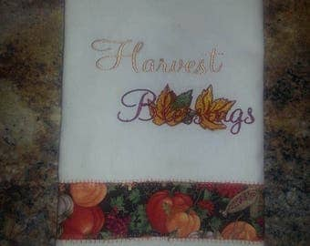 Fall or Thanksgiving Inspired Embroidered Kitchen/Bathroom Hand Towel