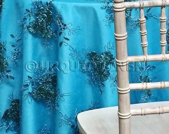 Ribbon Mesh Lace Tablecloth In Turquoise   Ideal For Weddings U0026 Bridal  Events