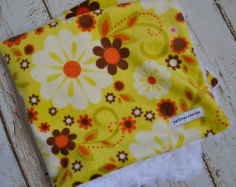 security blanket, baby security blanket, baby girl lovie, flower baby blanket, baby lovey, personalized security blanket, minky lovey
