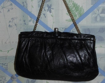 Vintage Black Leather Evening Bag