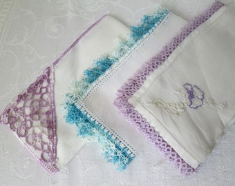 Vintage Hand Tatted and Embroidered Handkerchiefs, Set of 3