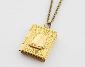 Sailboat Locket, Sailing Locket Necklace, Nautical Locket Necklace, Book Locket, Sailboat Jewelry, Nautical Gifts, Nautical Jewelry