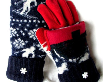 SALE!!!! Nordic skier Glittens Recycled wool sweater mittens and fleece touchscreen gloves, snowflakes, convertible flipback hood, medium