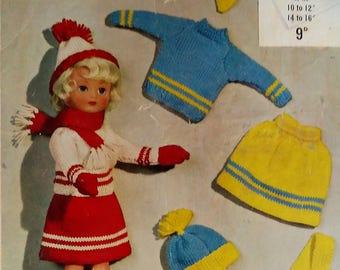 1960's Robins Dolls Knitting Pattern. Vintage Dollie's Knitting Pattern. Knitting Pattern for Dolls. 4 Ply Dolls Knitting Pattern.