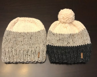 His & Hers Knit Hat Set, Knit Hats with Pom Pom, Chunky Yarn Knit Hats, Wool Winter Hat set, Ombre Hat