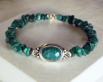 "Cynthia Lynn ""EVERGREEN"" Sterling Silver Created Green Malachite Beaded Bracelet"