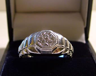 Heavy Gents 9ct White Gold Rolex Design Diamond Cluster Ring UK Size W