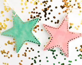 Star Christmas Tree Ornament, Gold Star Christmas Ornament, Colorful Holiday Decor, Colorful Ceramic Ornament, Gold Holiday Ornament