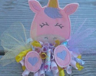 Unicorn Funky Loopy bow on clip, Unicorn bow, Funky Loopy, Loopy bow, Over the top bow. Made to Order!