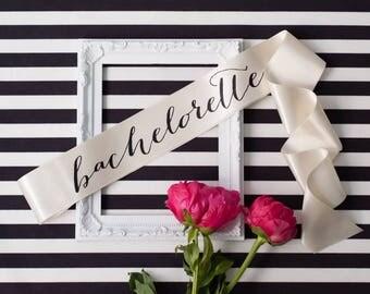 Bachelorette Sash - Black on Ivory