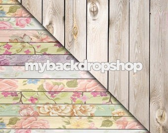 CLEARANCE 30% OFF - Combo - Two 8ft x 8ft Vinyl Photography Backdrop and Floor Drop - Pastel Floral Wood/White Wood  - Items 1765 & 157