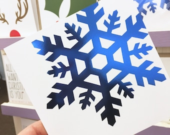 Blue Foil Snowflake Christmas card, Boyfriend/Girlfriend Christmas card, Shiny Festive Greeting Card
