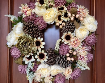 Farmhouse Wreath, Front Door Wreath, Rustic Farmhouse Wreath, Pine Cone Wreath, Wreaths for Front Door, Rustic Pine Cone Wreath, Etsy Wreath
