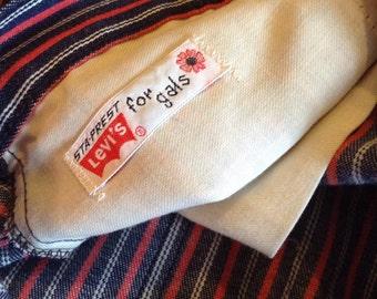 Vintage Rare LEvis Big E Stayprest For Gals Highwaisted  Red White and Blue Bellbottoms Hippie