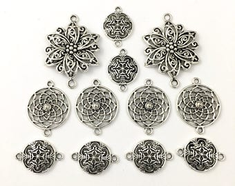 12 flower connectors, silver tone  22mm to 40mm # CON 224