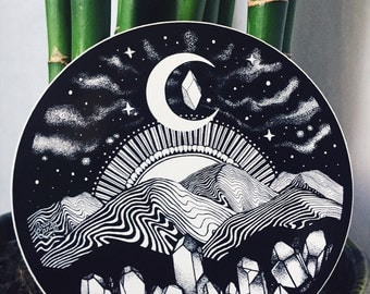 "Appalachia Mountain Sticker Black and White 4""  Trippy Mountain Sticker Galaxy Moon Night Sky Waterproof Vinyl Sticker"