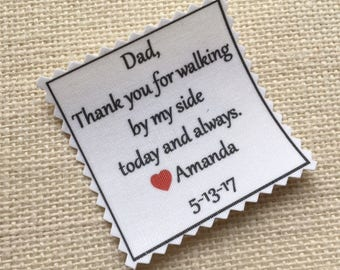 "Printed SKINNY TIE PATCH - Choose Message & Font - Little Heart Accent -  Iron On - Sew On, 2"" x 2"" - Thank You for,Father of Bride or Groom"