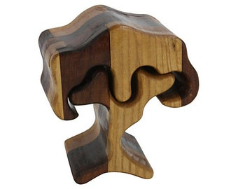 1970s Hand-Carved Puzzle Box Tree