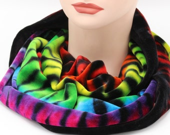 Tie Dye Infinity Scarf, Organic Bamboo Velour Scarf, Trippy Rainbow Infinity Scarf, Super Soft Hippie Winter Accessories