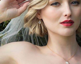 Moonstone earrings, bridal drop earrings, gold wedding earrings, bridal earrings gold - Bay