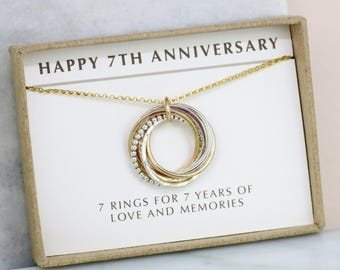7th anniversary gift for her, 7 year wedding anniversary gift, 7 interlocking rings necklace - Lilia