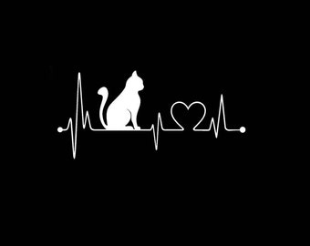 "CAT Heartbeat Lifeline LOVE 8"" Vinyl Decal Widow Sticker for Car, Truck, Motorcycle, Laptop, Ipad, Window, Wall, ETC"