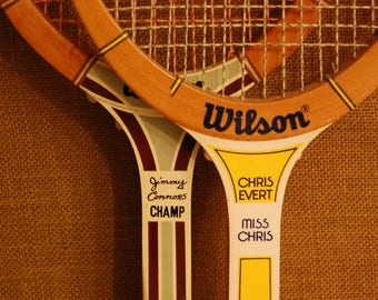 Vintage Wooden Tennis Rackets, Pair Jimmy Connors, Chris Everet wood competition tennis rackets, circa 1970's collectible sporting goods