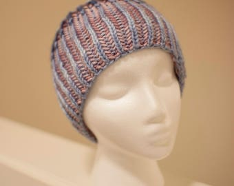 Quinlynn - reversible brioche knit beanie ombre purple and blue
