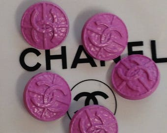 Authentic Chanel 5 metal purple buttons 20mm