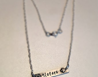 """Sisters Bar Arrow Necklace Hand Stamped Pewter 17"""" chain"""