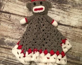 Crochet Sock Monkey Lovey Blanket. Sock Monkey Toy. Baby. Child. - READY TO SHIP