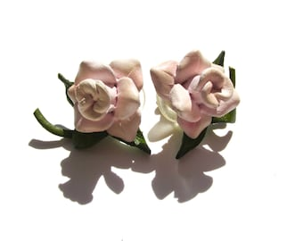 Kissed by a Rose | Vintage Leather Rose Earrings Pink Rose Earrings Vintage Rose Leather Earrings Vintage Earrings Stud Earrings