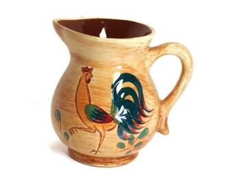 Creamer by Pennsbury Pottery, Red Rooster, Primitive Folk Art, Primitive Decor, Amish, Pennsylvania Dutch, Folk Art Pottery