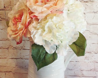 Farmhouse Chic White Ceramic Pitcher with Premium Pink English Roses and White Hydrangea Blooms