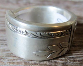 Silver Spoon Ring Size 7, GRENOBLE 1938, Silverware Jewelry, Art Deco, Gift for Her