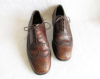 Vintage BALLY marron toutes les chaussures oxford en cuir full brogue aile, taille eu 41 / 7 1/2 uk hommes / de nous les hommes 8