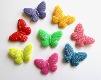 8 x mixed large butterfly charms - Glitter butterflies - Butterfly pendants - Kitsch charms - Jewellery making - UK seller - Etsy UK
