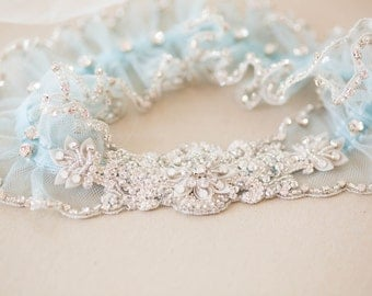 Something Blue Wedding garter set, Bridal Garters - Style R94