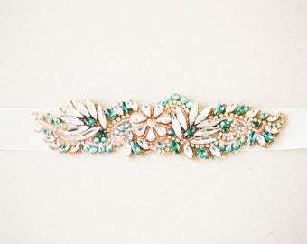 Wedding Belts and Sashes, Emerald Green gold and peach bridal belts and sashes - Style R106