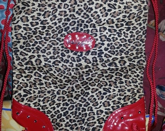 Leopard print BABYGIRL backpack book bag