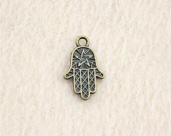 20 x Bronze Khamsa Star Hand Charms. 10mm x 16mm. Hand of Fatima ( Hamsa ) Protection Amulet Pendants. Create Handmade Earrings & Bracelets