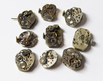 9 Vintage Watch Movements- 9 watch parts/supplies large lot of watch movements 3/4""