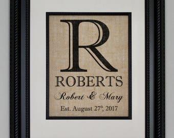 Personalized Burlap Print, Wedding Gift, Anniversary Gift, Engagement Gift, Wedding Monogram, Burlap Sign with Family Name, Date Established