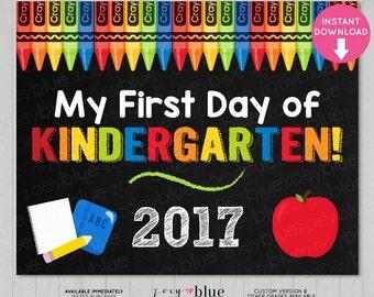 First Day of Kindergarten Sign - Boy 1st Day of School Chalkboard Sign - Kinder Photo Prop - Instant Download - Printable Digital File